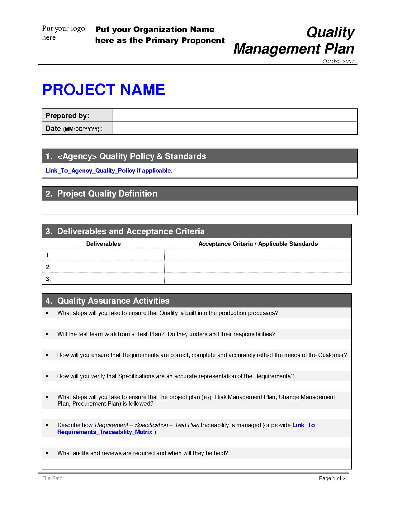 quality plan templates - Pertamini.co