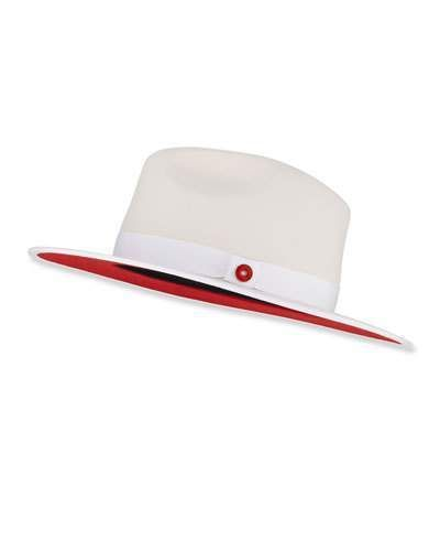 f6a4838a5b8fe8 Keith and James Queen Red-Brim Wool Fedora Hat, White in 2019 ...