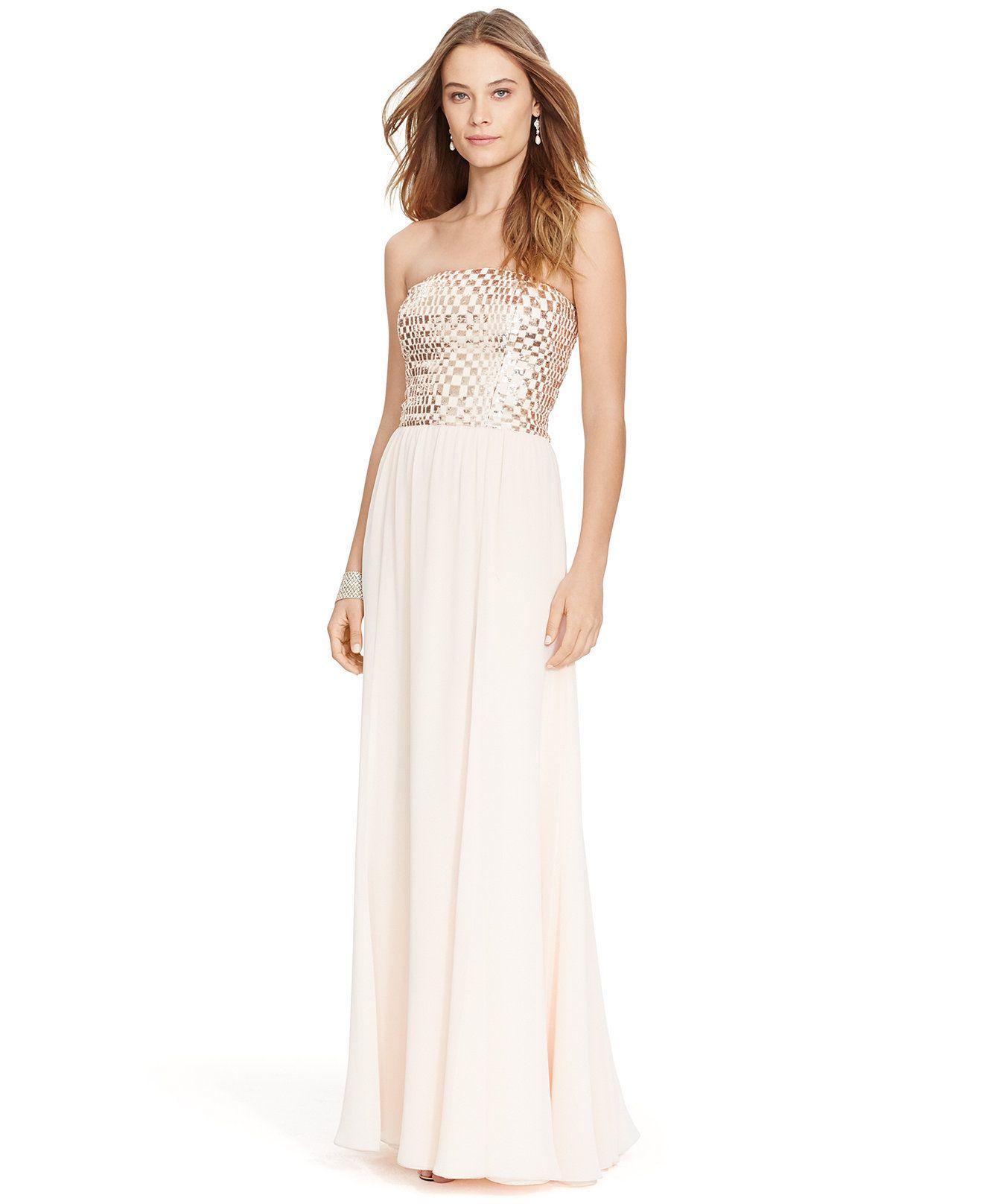 Lauren ralph lauren sequin strapless gown bridesmaids women