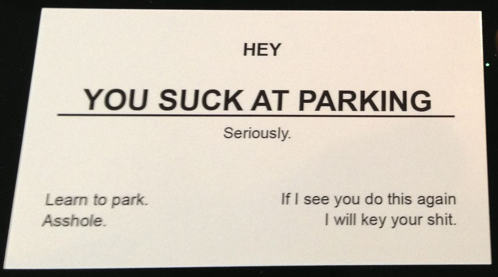 You Suck At Parking Offensive Business Cards - 10 Pack | Offensive ...