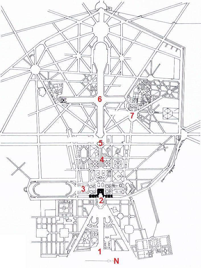 Plan Of Versailles France Begun 1661 By Le Ntre And Le Vau 1
