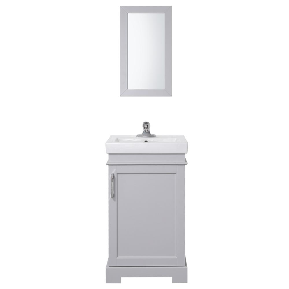 Home Decorators Collection Hallcrest 20 In W X 16 In D Vanity In Misty Grey With Integrated Vanity Top In White With White Sink And Mirror Hallcrest20co G White Sink Small Bathroom Vanities