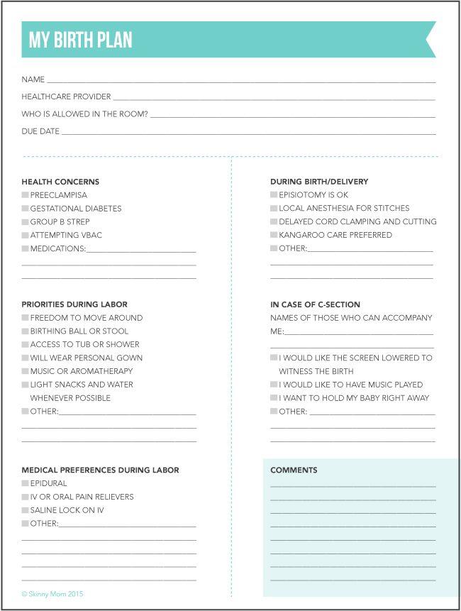 Birth Plan Birth Plan Template Birth Plan Printable Birth Plan Checklist