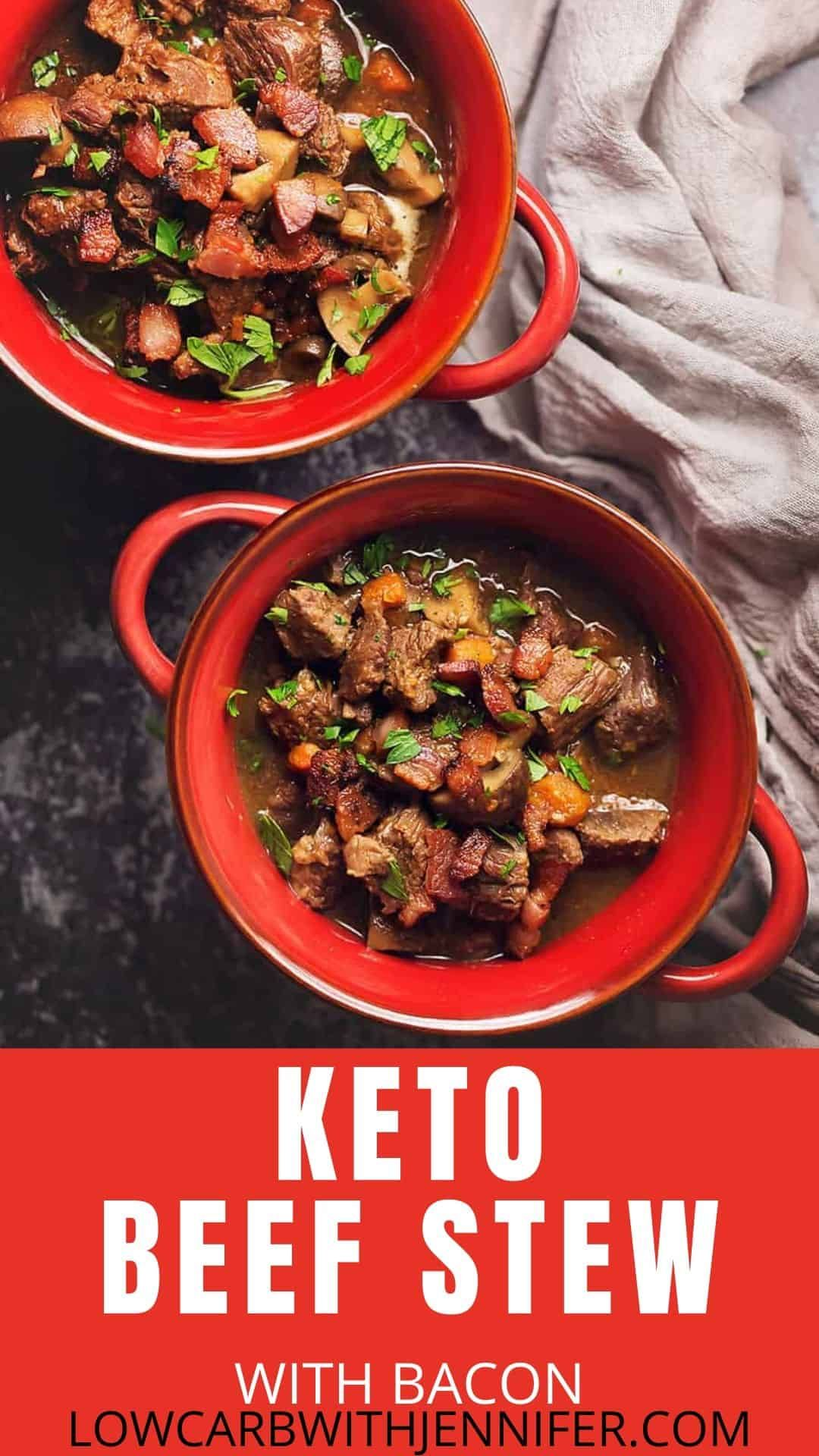 Keto Beef Stew With Bacon Instant Pot Stove Top Or Crockpot Low Carb With Jennifer In 2020 Keto Beef Stew Low Carb Beef Stew Tasty Beef Stew
