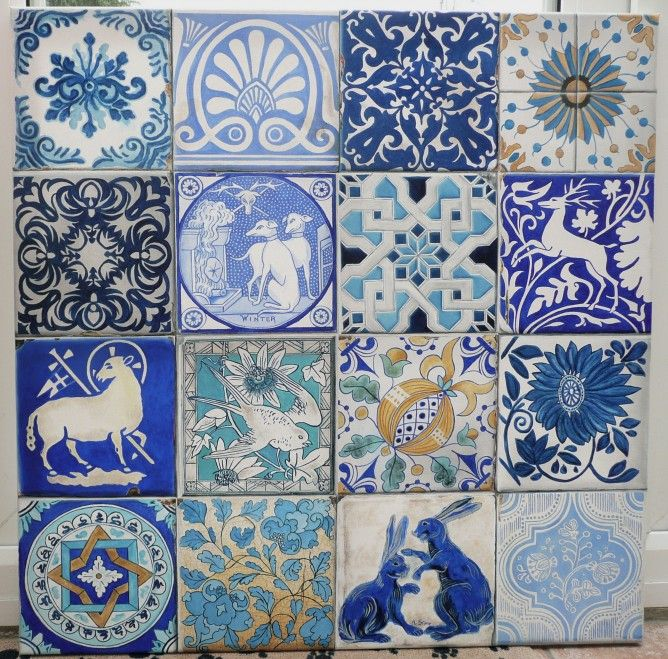 Blue And White Tiles Oil Painting By Artist Kate Stone