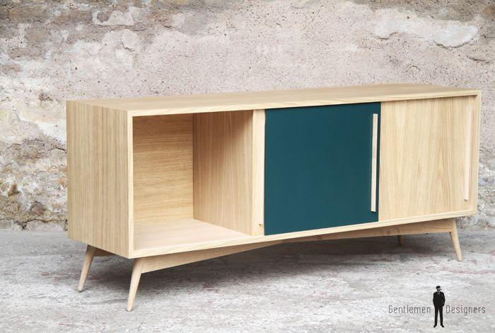 4004e723b9b096 GENTLEMEN DESIGNERS    Meuble vaisselier bois clair chene portes  coulissantes sur mesure, bleu pétrole, made in France  enfilade  couleurs   buffet  chene ...