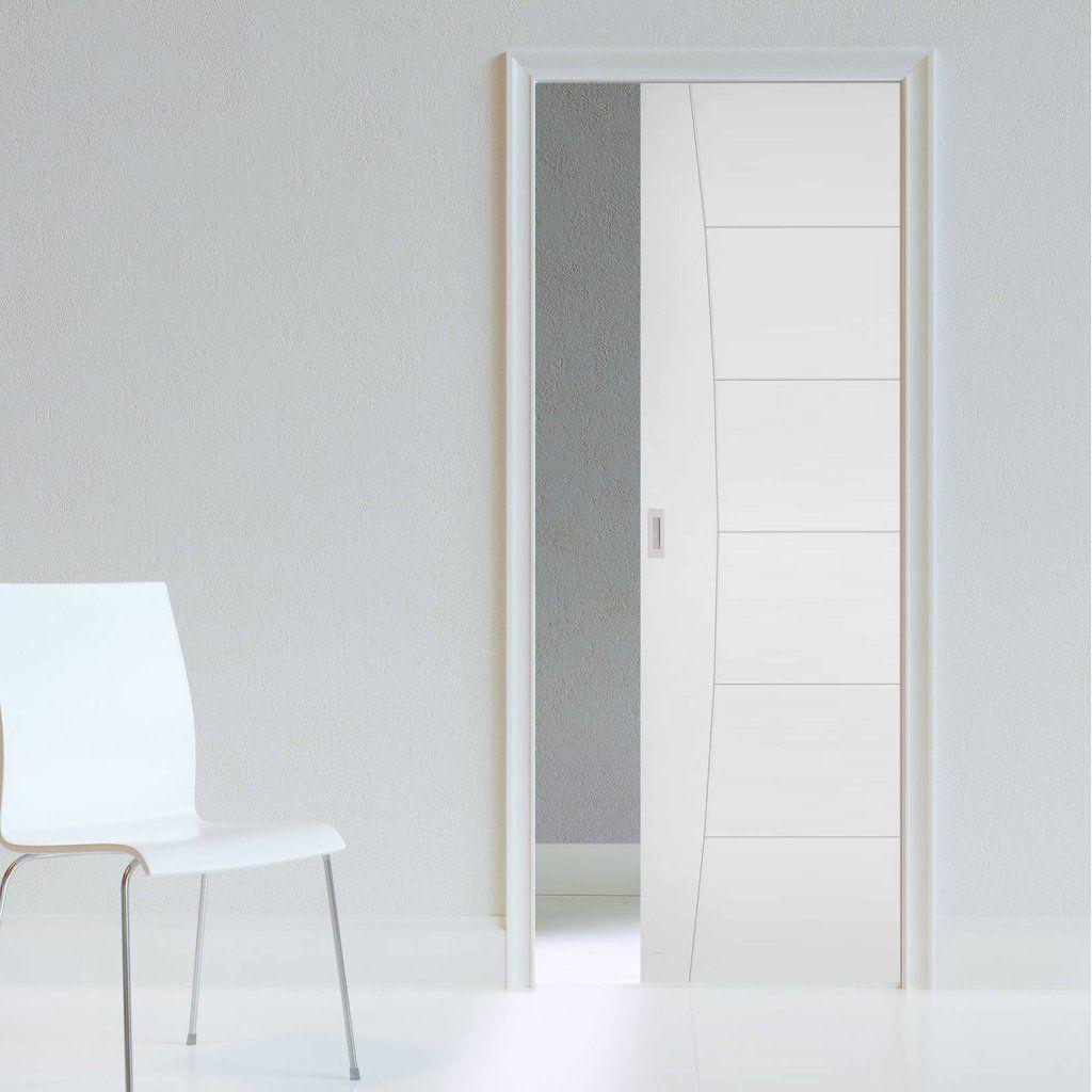 Pamplona Flush Single Evokit Pocket Door White Primed Pocket Doors Flush Doors Sliding Pocket Doors