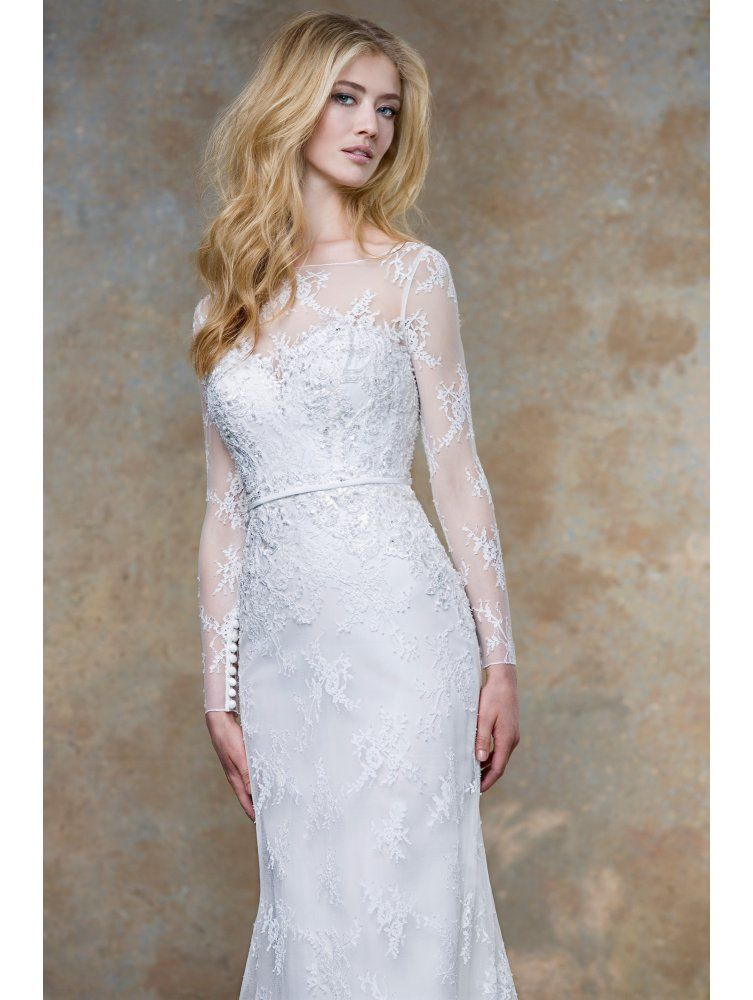ellis-bridals-ellis-bridals-18019-soft-lace-bridal-gown-with-sleeves ...
