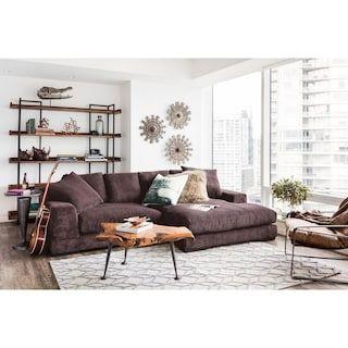 Shop Aurelle Home Polk Dark Brown Sectional Sofa - On Sale ...