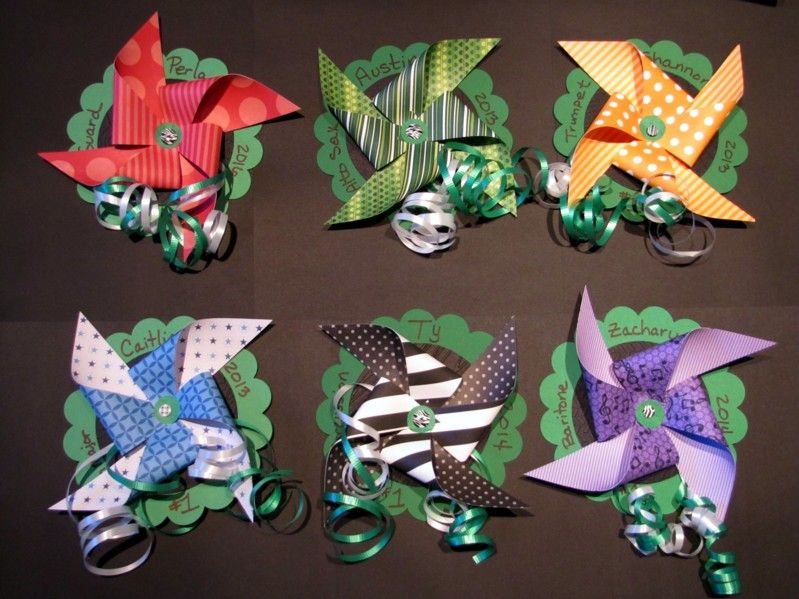 Clash of the Patterns Show - 2012.  Pinwheel colors for each section using double sided pattern paper.