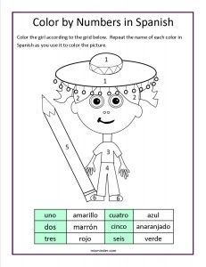 Free color by numbers in Spanish worksheet To teach and reinforce