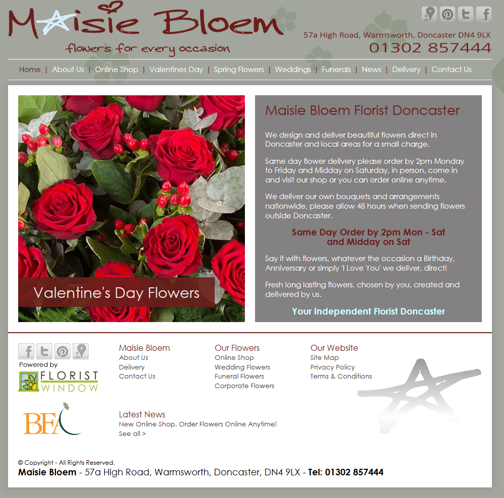 Maisie bloem florist doncaster have a new website florist window doncaster florist maisie bloem same day flower delivery shop send flowers to doncaster bouquets weddings funerals tributes izmirmasajfo