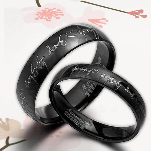 lord of the rings esk anysize anywords black lord of ring elvish engrave groom wedding engagement titanium rings set flat court - Black Wedding Rings For Him