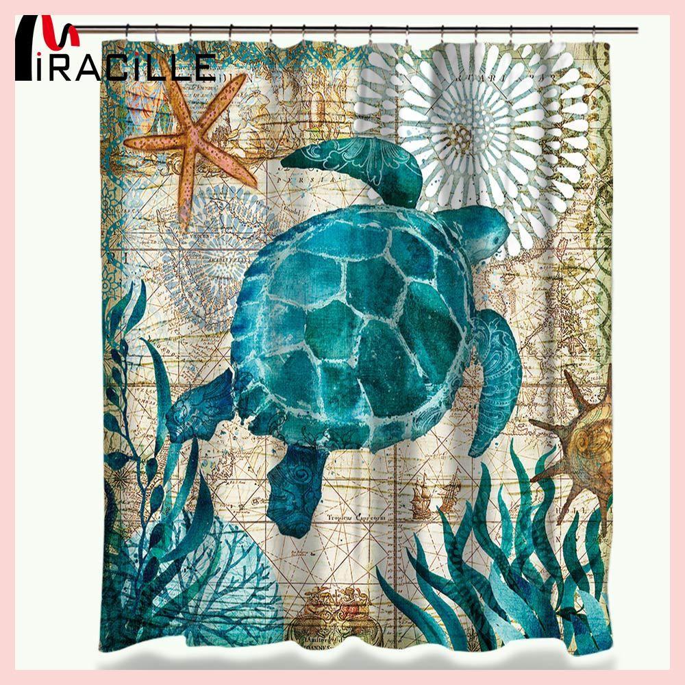 Miracille Sea Turtle Waterproof Shower Curtain Octopus Home