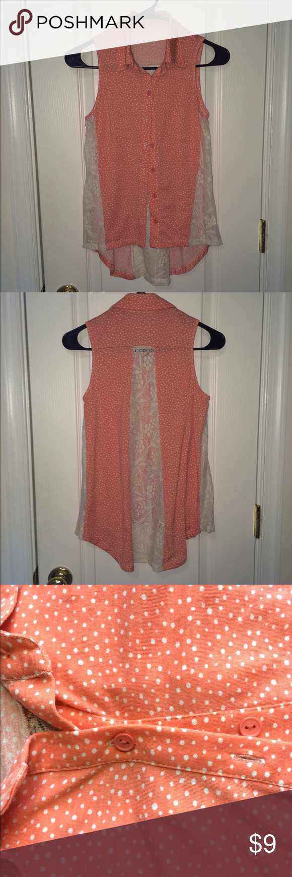 sleeveless button down blouse mixture of polka dots & lace sleeveless shirt, super cute for a summer day! looks really good paired with a pair of white pants! Mossimo Supply Co Tops Button Down Shirts