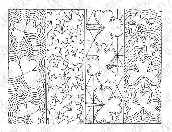 Shamrock Bookmarks March Pdf Printable Coloring Page St Patricks Day Activity Etsy Diy Ad Coloring Bookmarks Etsy Diy Printable Coloring Pages