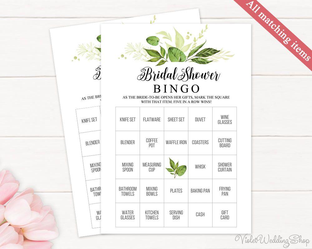 Greenery Bridal Shower Bingo Template. Printable Bridal Shower Game ...