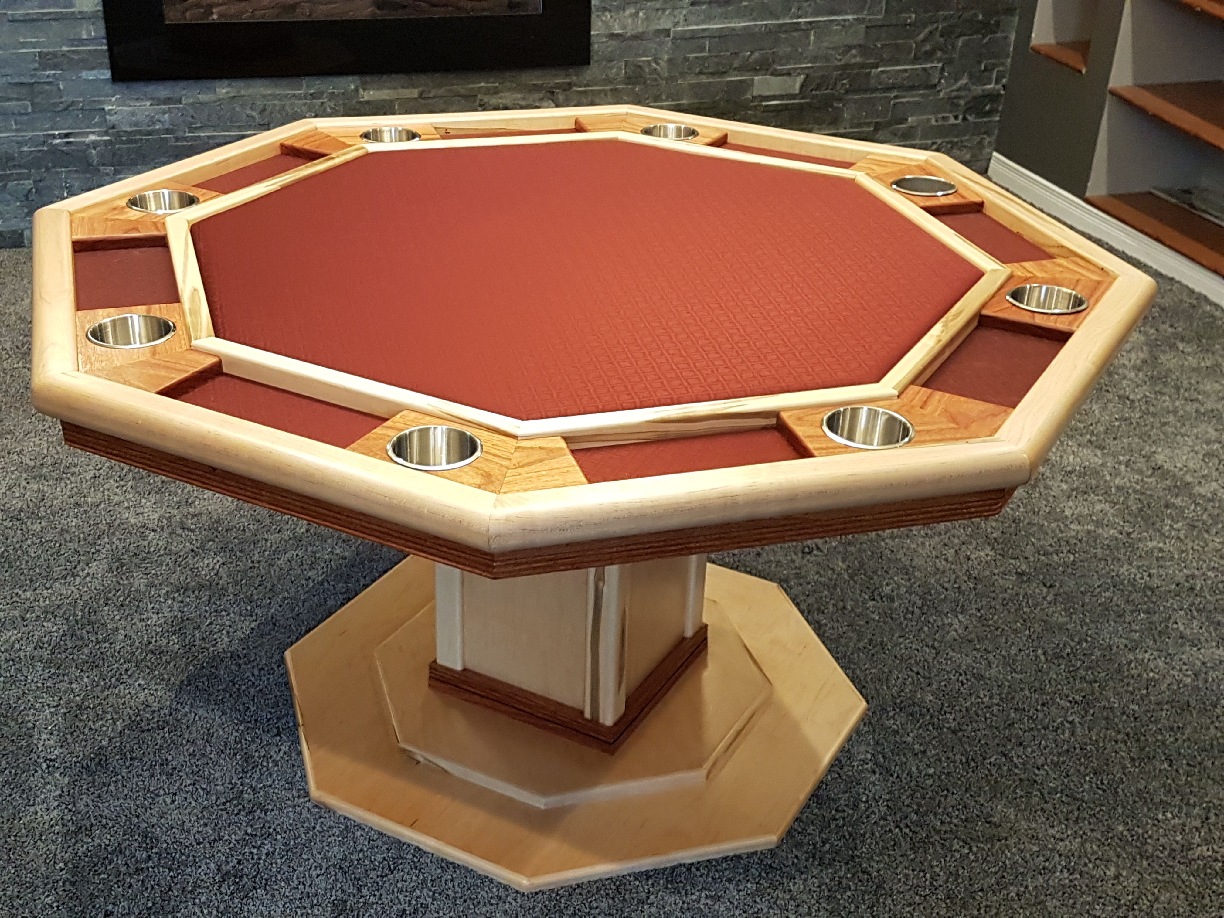 Octagonal Poker Table Ambrosia Maple And Canary Wood Poker Table Plans Poker Table Diy Custom Poker Tables