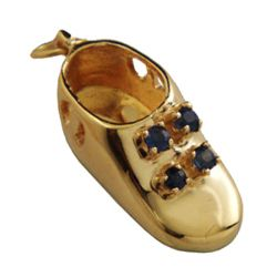 Sapphire baby boot 14k gold charm