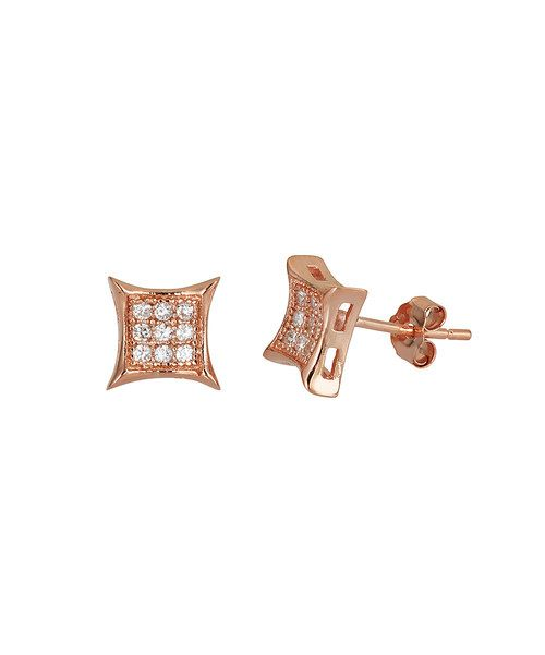 Flaunt a polished sense of style with these scintillating studs. Pavé cubic zirconium and geometric rose gold frames promise instant sophistication for any chic ensemble.