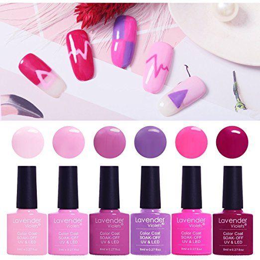 f4317328e5 Gel Nail Polish Kit Lavender Violets 6 Colors UV LED Gel Set 8 ml Nails Set  Best for Dating