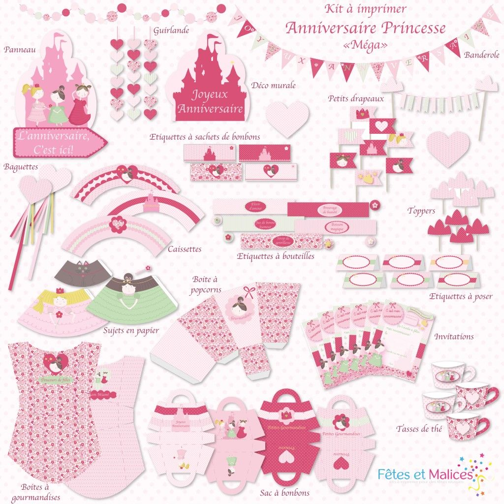 printable kit a imprimer princesse d coration table anniversaire. Black Bedroom Furniture Sets. Home Design Ideas