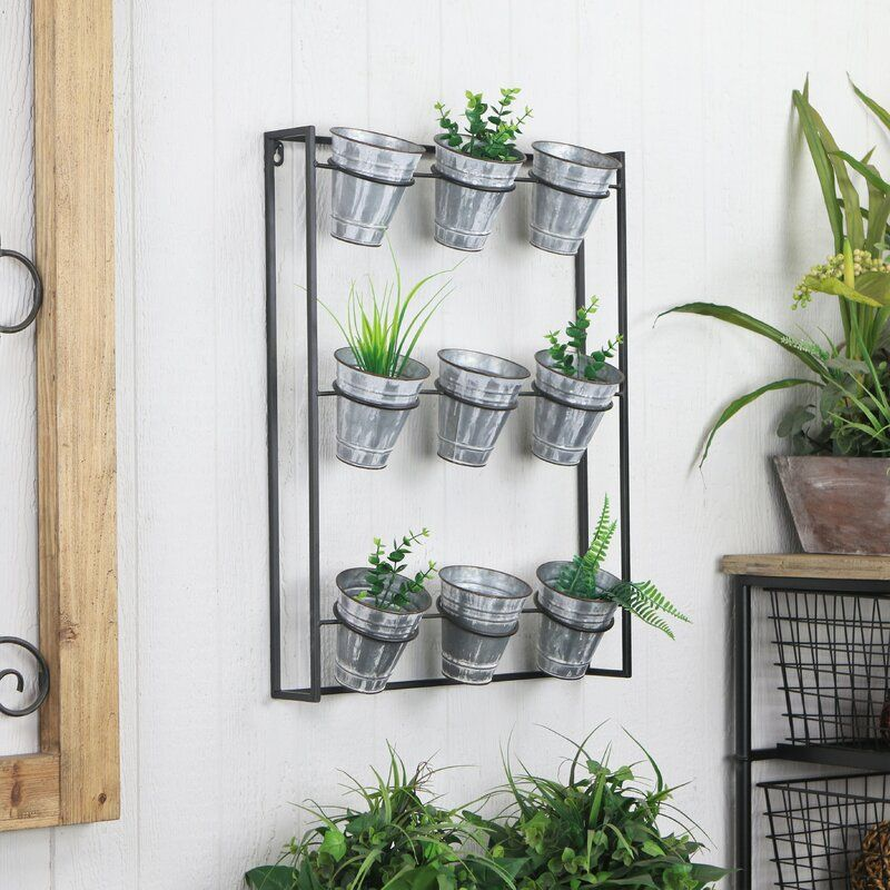 Cardona 9 Piece Pot Metal Wall Planter In 2020 Metal Wall Planters Metal Walls Deck Decorating