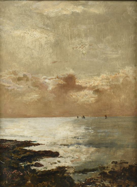 Marine - 1985. Alfred Stevens, Swedish (1823-1906) Oil on Mahogany Panel