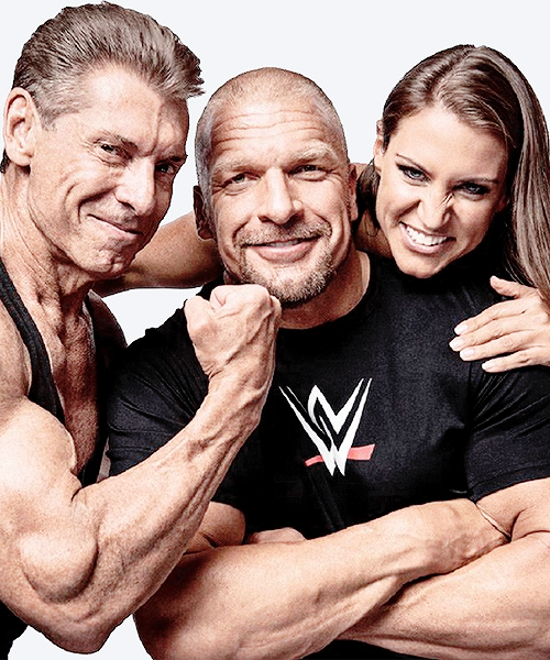 """""""Vince McMahon, Triple H and Stephanie McMahon in the March 2015 issue of 'Muscle and Fitness' magazine. Available now!"""""""