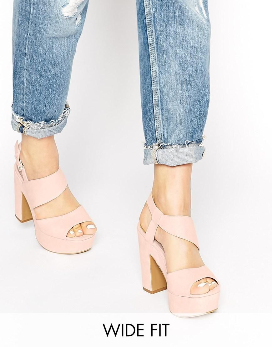 New Look Wide Fit Tipsy Pink Platform