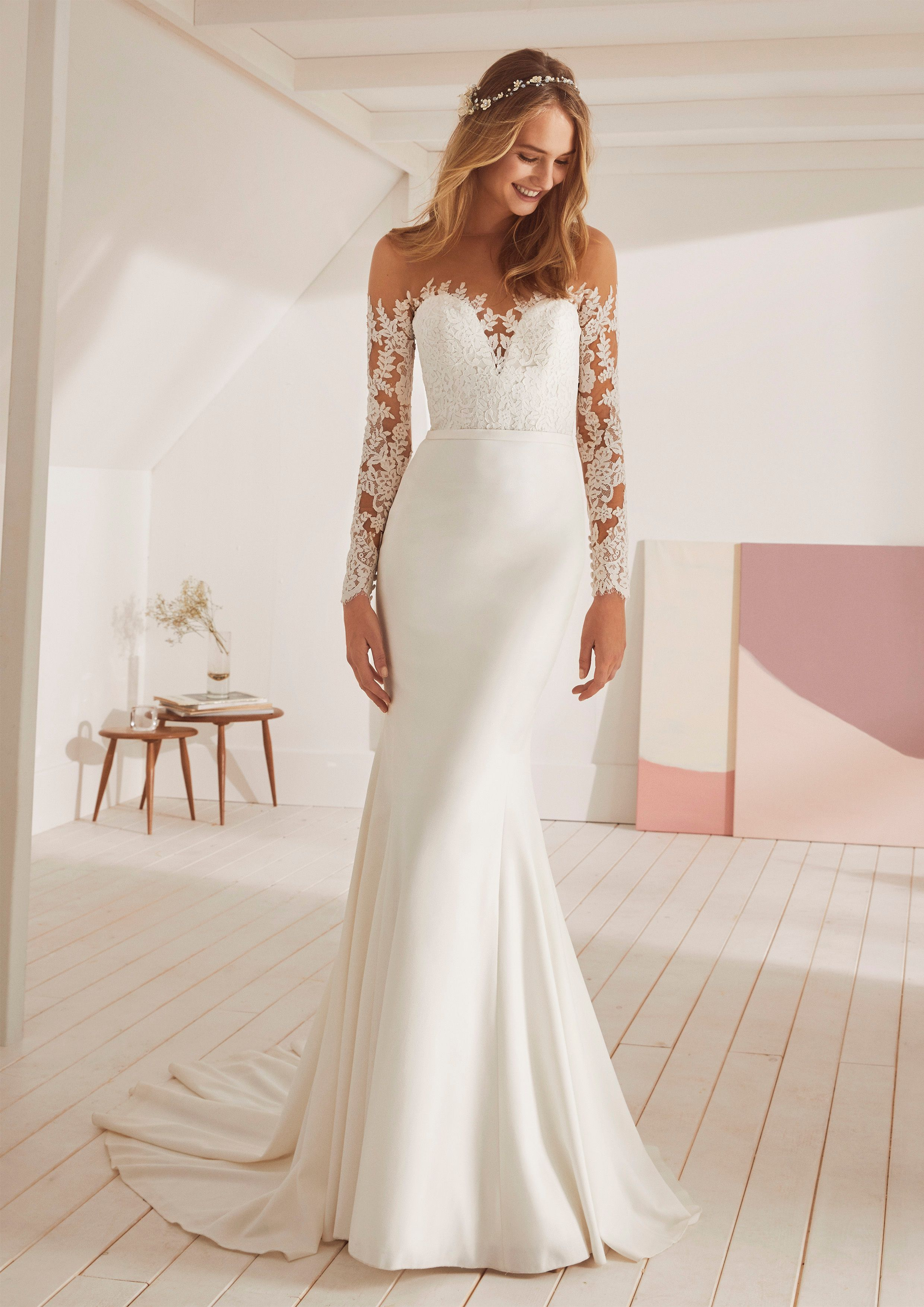 Off The Shoulder Illusion Lace Long Sleeves Fit And Flare Beauty From Pronovias Weddingdress Spring Wedding Dress Wedding Dresses Wedding Dress Long Sleeve [ 3508 x 2480 Pixel ]