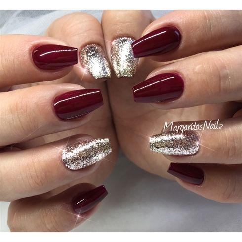 Dark Red And Rose Gold Glitter Ombre By Margaritasnailz Nail Art Christmas Nail Design Winter Fashion Coffi Red And Gold Nails Dark Red Nails Red Acrylic Nails