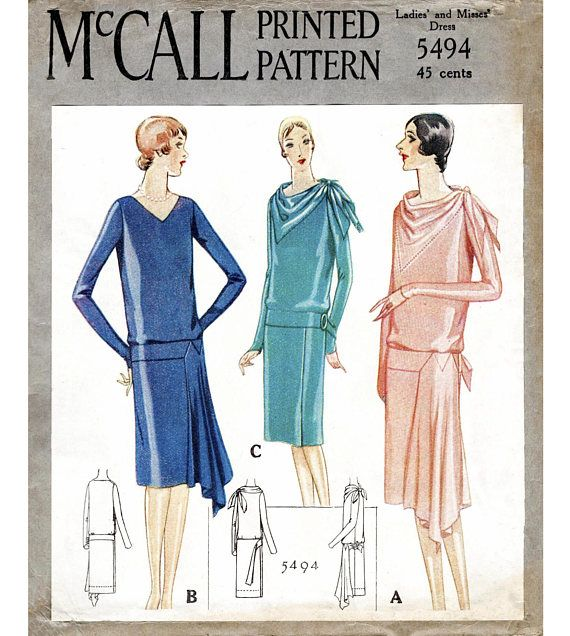McCall 5494 1920s 1928 day or evening dress bias cut drapery scarf ...