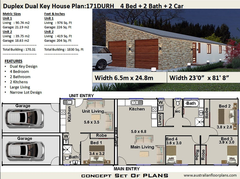 Duplex House Plans Australia 1830 Sq Foot 171 M2 Narrow Etsy Beach House Plans House Plans Australia Duplex House Plans