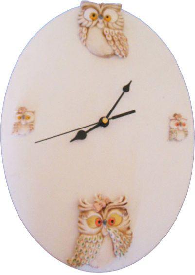 Orologio casa da parete cucina con gufetti, in ceramica dipinto a ...