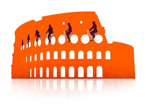 Traveller On the ground Rome - ROME'S IN WHEEL NEED -  The car loving capital is trying to embrace humble bicycle, says Alice Filmer, but it's not really in the Roman psyche to go slow. •EASYJET TRAVELLER• A series of illustrations for easyJet in-flight magazine Traveller. These conceptual images presented in simplistic and modern style are featured in On The Ground, a column that talks about a different city in Europe by different author every month. Art direction: Sarah Warwick, Blue…