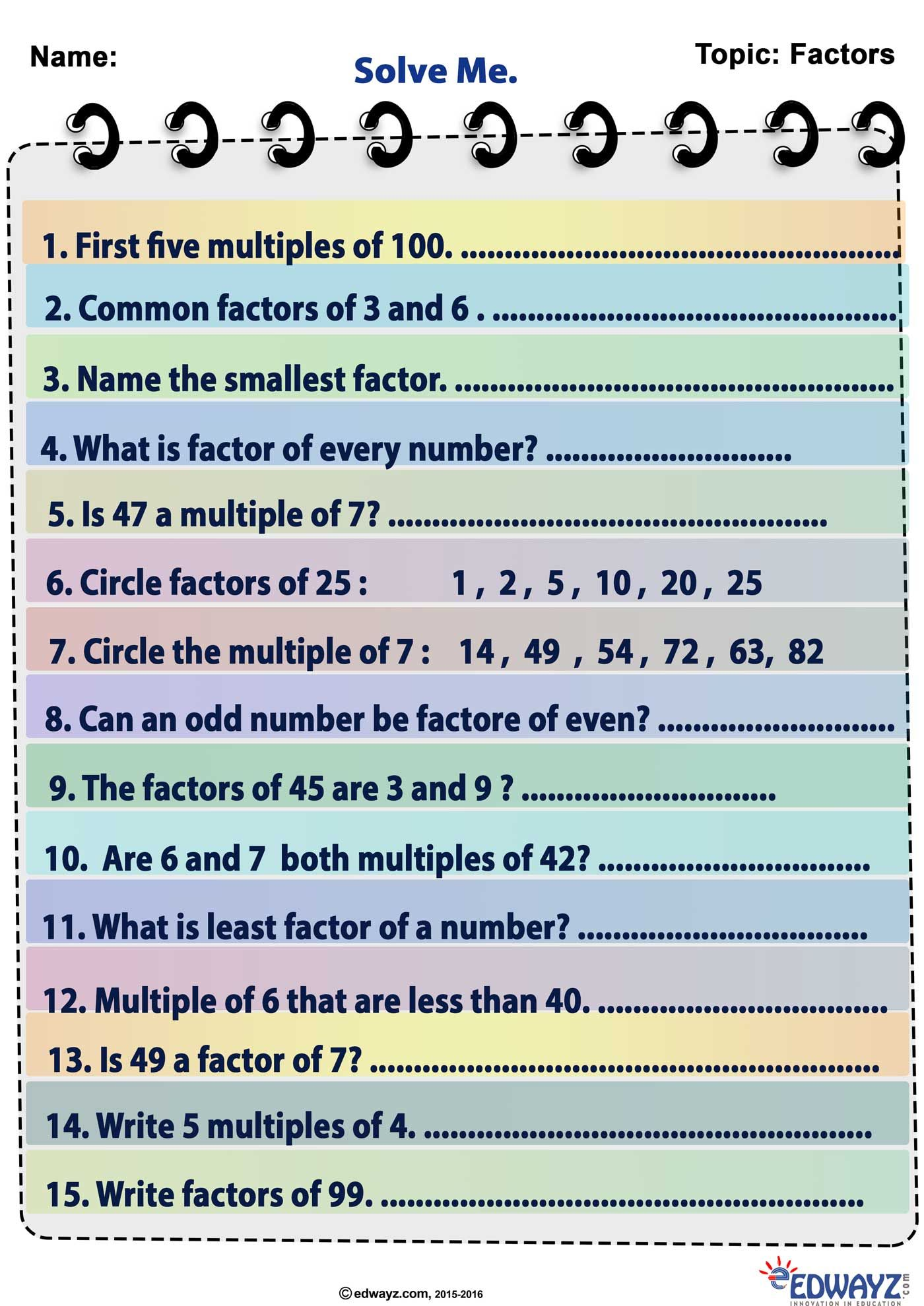 Factors And Multiples As Practice Worksheets