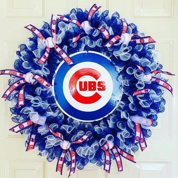 Chicago Cubs Wreath - Cubs Wreath - MLB Wreath - Baseball Wreath - Deco Mesh Wreath - Chicago Wreath