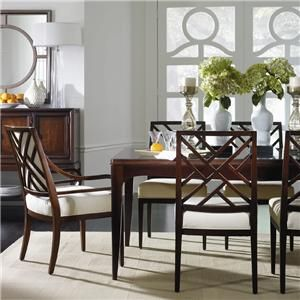 Stanley Furniture Continuum 7 Piece Parson's Leg Formal Dining Table & Fret Back Chair Set at Riverview Galleries