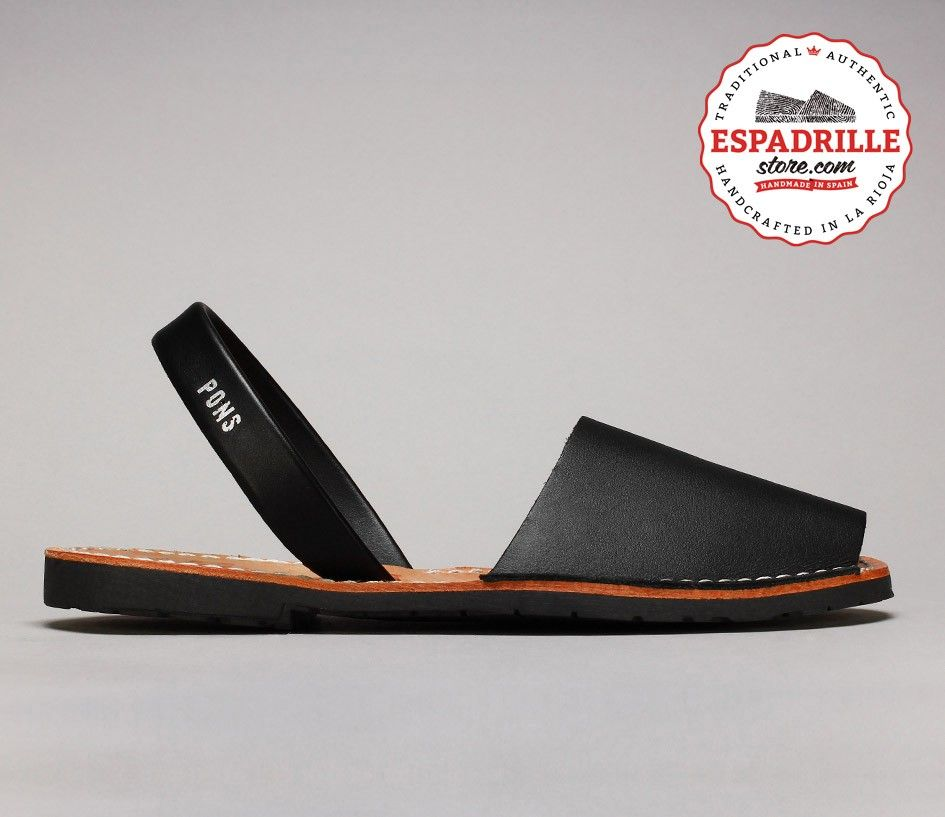 Black Avarcas leather sandals from Menorca, Spain | @ EspadrilleStore.com