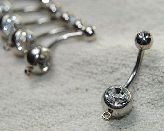 1 PIECE 14g Dragon Belly Ring Dangle Triple CZ AB Iridescent Gem Goth