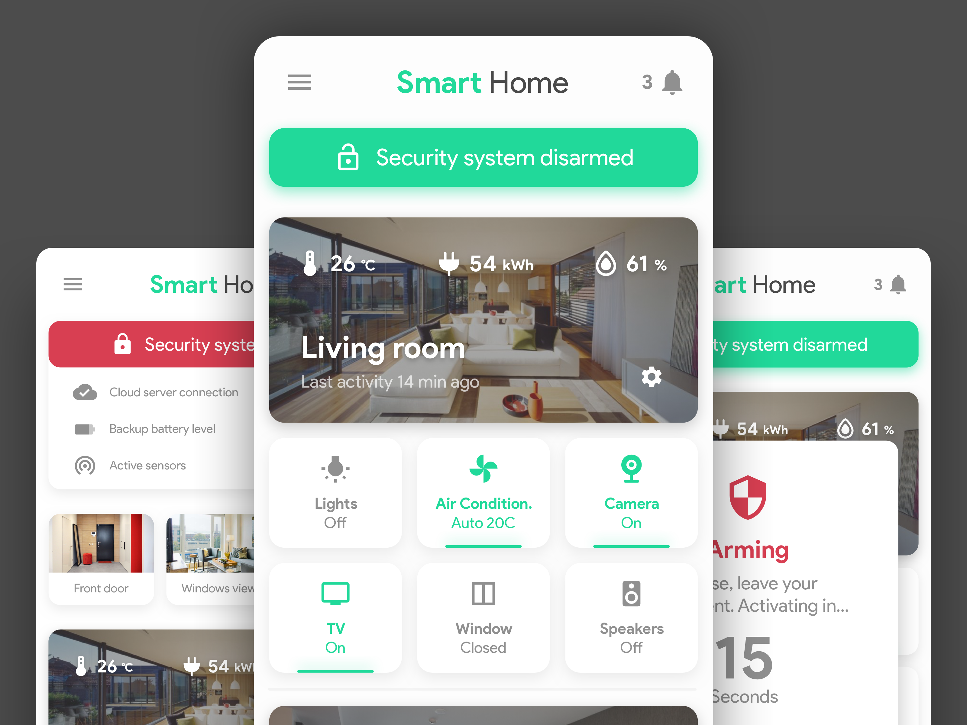 Smart Home & Security App Concept Security cameras for