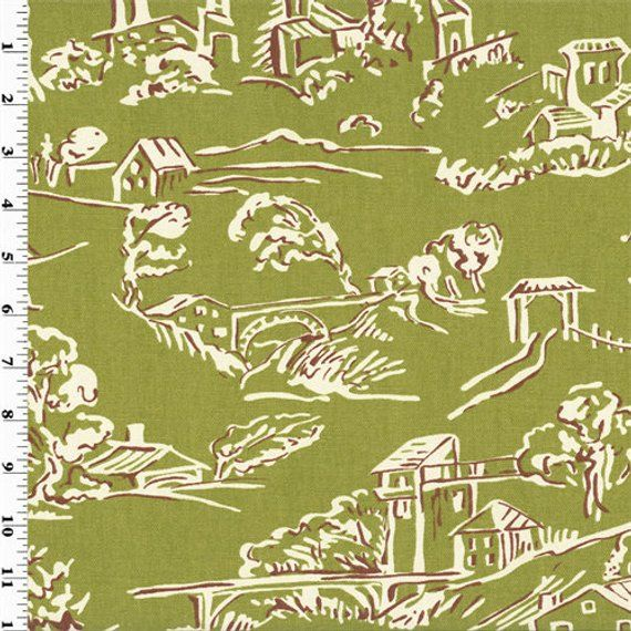 Company C Green Village Toile Print Home Decorating Fabric, Fabric ...