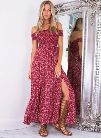 02c3fb4e5b161 Women s Off Shoulder High Slit Floral Printed Maxi Dress