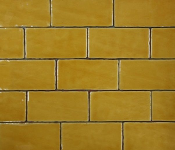 Hand Made Subway Tile In Mustard 75x150 Yellow Tile Tiles Yellow Wall Tiles