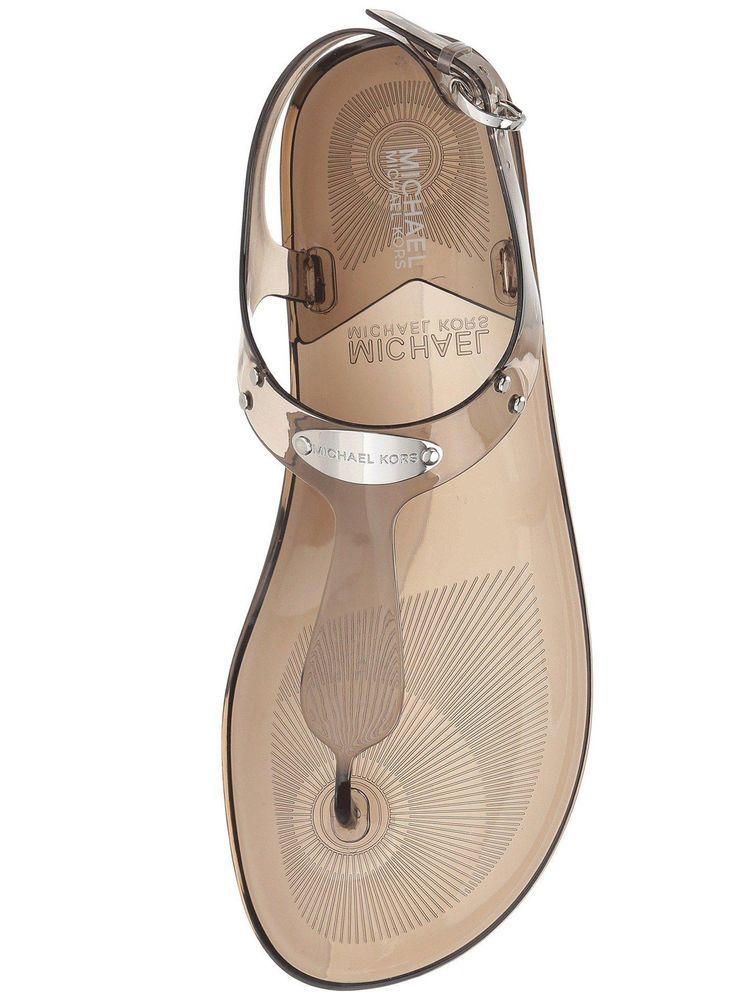 15a1baa23e8e Michael Kors Plate Jelly Sandals Smoke Size 7 New  MichaelKors  FlatSandals