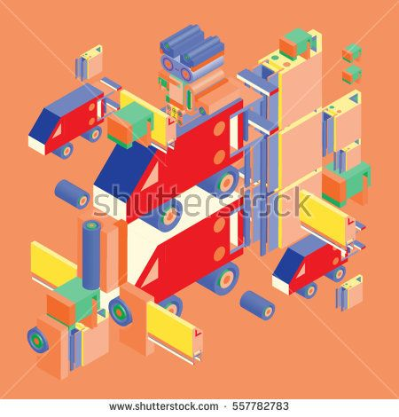 Vector colorful abstract isometric construction, vector polygonal shape. Template for poster design and background or fabric print.