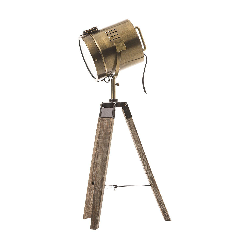 Lampe projecteur design vintage et rétro en métal style cuivre et