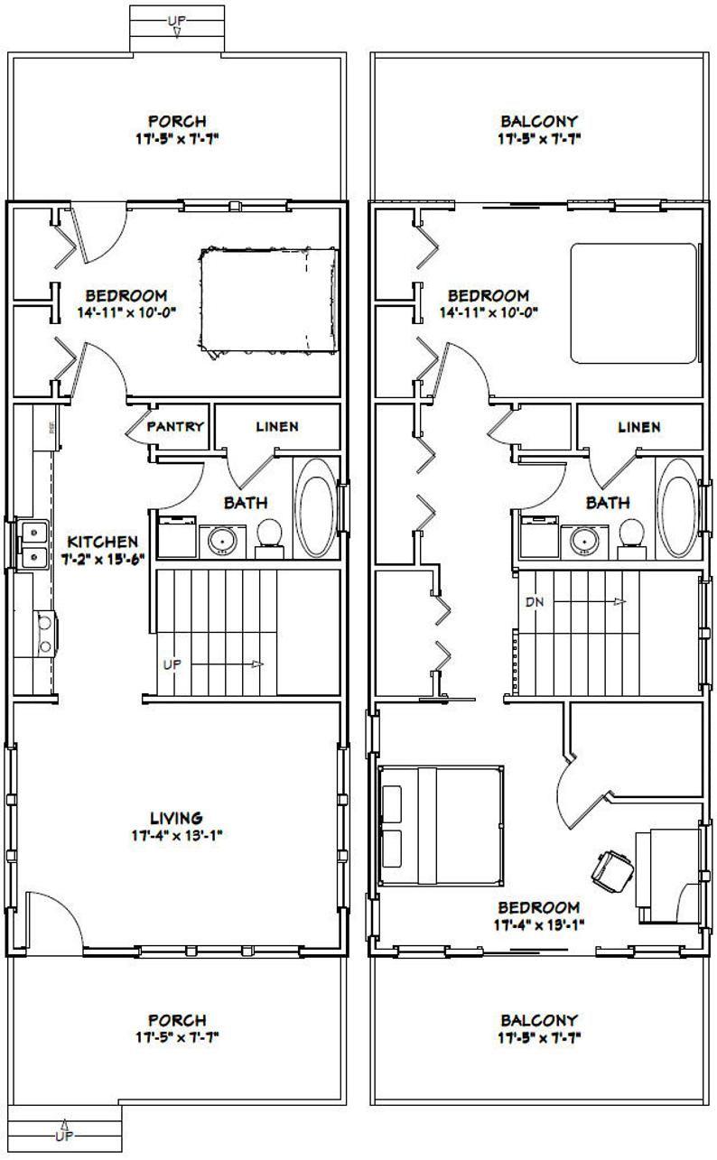 18x40 House 3 Bedroom 2 Bath 1 292 Sq Ft Pdf Floor Plan Instant Download Model 6a Shed House Plans Floor Plans Shed Plans