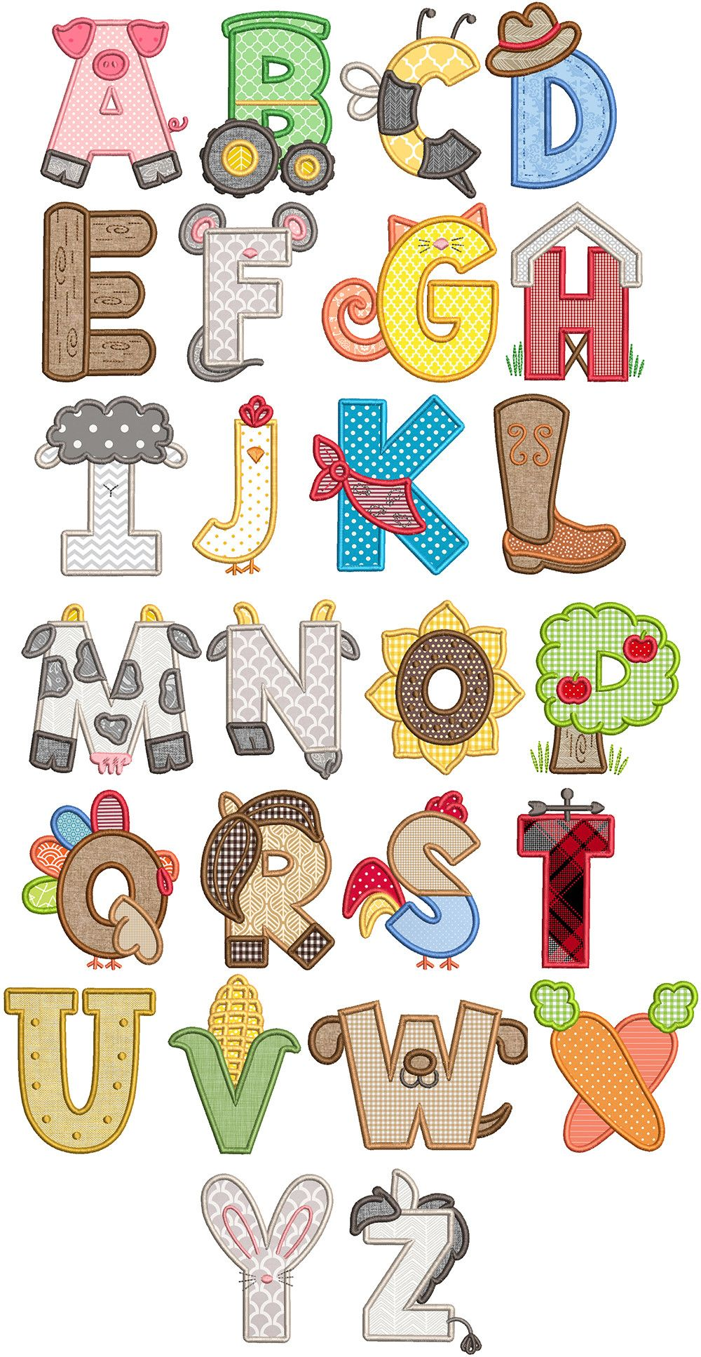 Farm Applique Alphabet Applique Letters Farm Applique Animal Alphabet Letters